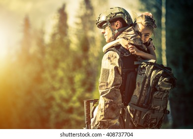 Soldier Returning Home After Years of War. Happy Daughter Welcoming Her Dad at Home. Troop Returning Concept.