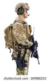 Soldier with rifle or sniper standing on a white background