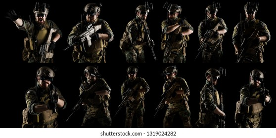 Soldier with rifles. shot in studio. isolated on black background.