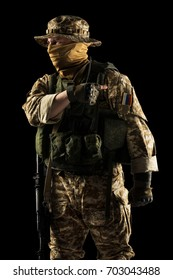 Soldier of russian mechanized infantry (desert camo) on black background