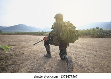 Soldier sitting and looking forward
