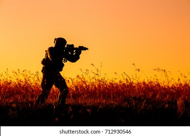soldier of special forces in action.