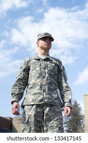 Soldier stand over blue sky