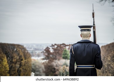 Soldier standing at attention with D.C. in the background