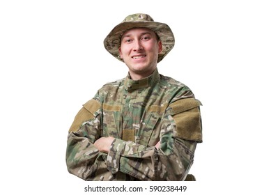 soldier standing with folding arms on white background