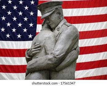 soldier statue with flag background
