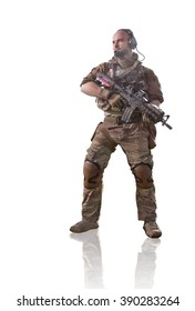 Soldier in summer woodland uniform with the M4 rifle isolated on white background.