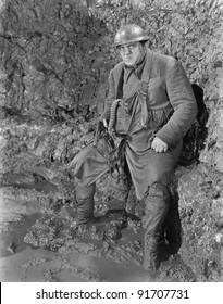 Soldier in a trench in World War I
