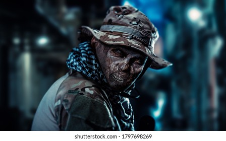 The soldier turned into a zombie is in the city.