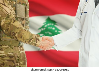 Soldier in uniform and doctor shaking hands with national flag on background - Lebanon