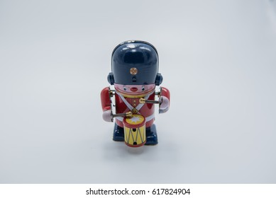 Soldier vintage toy made by zinc in white background