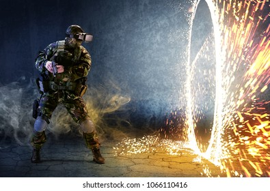 A soldier with virtual reality glasses looks at the ring of fire and holds a gun in his hands. The concept of virtual reality.  Simulation games.