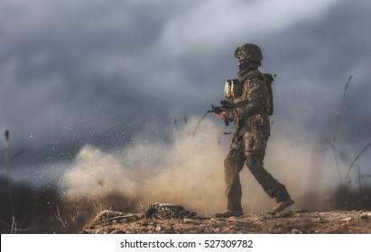 Soldier walking on the battlefield.