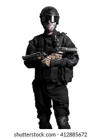 Soldier wearing black suit with double guns isolated