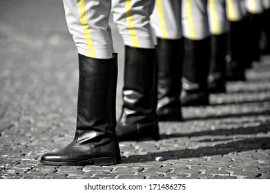 Soldiers boots in rest position during a military parade