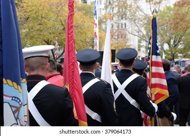 Soldiers carrying colors