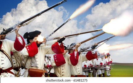 soldiers firing their muskets in a battlefield