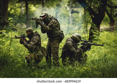 Soldiers in forest among trees