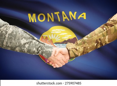 Soldiers handshake and US state flag - Montana