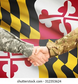Soldiers handshake and US state flag - Maryland