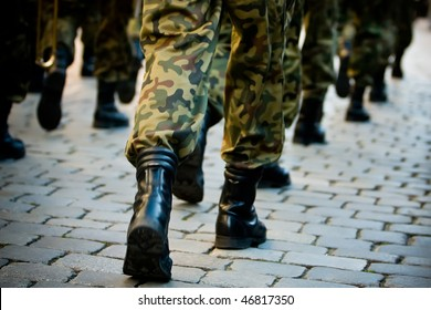 Soldiers march in formation (Motion Blur)