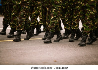 Soldiers marching during Romania's National Day military parade
