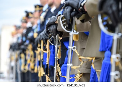 Soldiers from a national guard of honor during a military ceremony