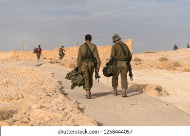 Soldiers are patrolling for security Israeli army military exercises in the early morning in the ruins of the fortress Massada. Palestinian Israeli conflict.