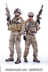Soldiers with rifle on a white