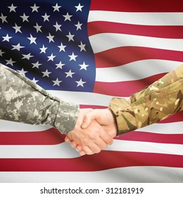 Soldiers shaking hands with flag on background - United States