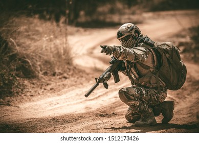 Soldiers of special forces on wars at the desert,Thailand people,Army soldier Patrolled the front line