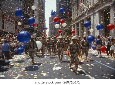 Soldiers in tickertape parade, New York