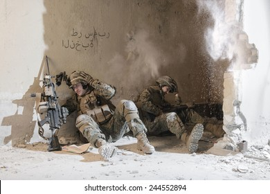Soldiers under enemy fire. sudden attack.