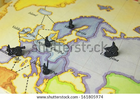 Soldiers war game on map risk stock photo edit now 161805974 game on map risk gumiabroncs Choice Image