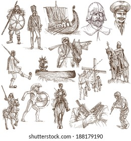 Soldiers, Warriors and Heroes (People and weapons all over the world - collection no.2, white set) - Description: Collection of an hand drawn illustrations isolated on white.