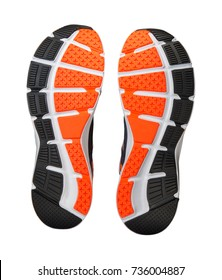 sole of running shoe isolated on white background with clipping path