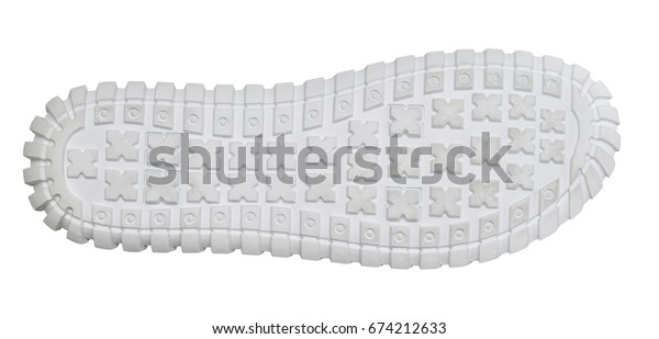 Sole of sports shoes isolated on white