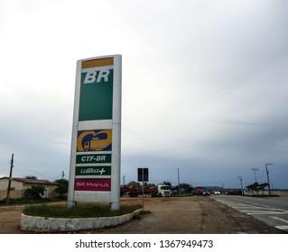 Soledade, Paraíba/Brazil - April 11, 2019: Exterior of a Petrobras fuel station next to a highway and inside a city.