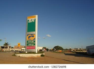 Soledade, Paraíba/Brazil - April 16, 2019: Exterior of a Petrobras fuel station next to a highway and inside a city.