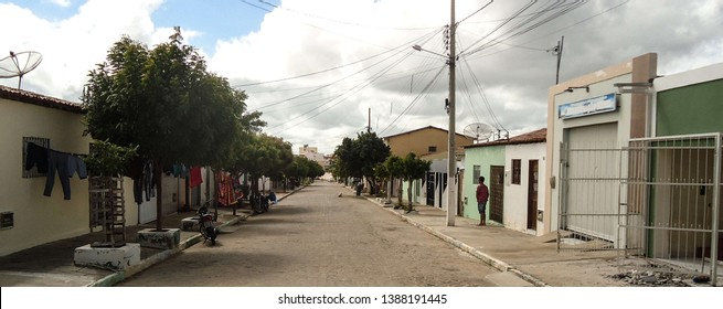 Soledade, Paraíba/Brazil - April 26, 2019: Typical street of a city in the interior of the Brazilian Northeast in the morning.