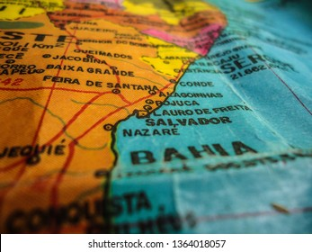 Soledade, Paraíba/Brazil - April 8, 2019: Map showing the state of Bahia, with the detail of the names of the cities and part of the neighboring states.