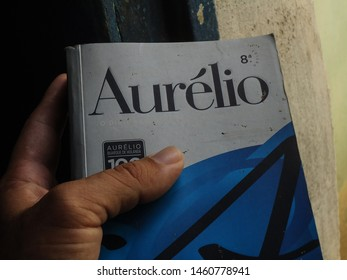 Soledade, Paraíba/Brazil - July 16, 2019:  Brazilian dictionary AURÉLIO considered a reference in Brazil and widely used by Brazilian students is a dictionary with Portuguese words.