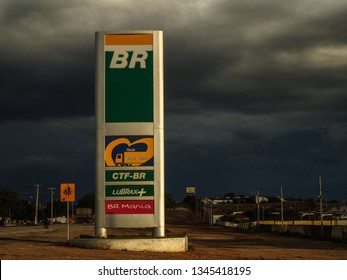 Soledade, Paraíba/Brazil - March 18, 2019: exterior of a petrobras fuel station alongside a highway and within a city