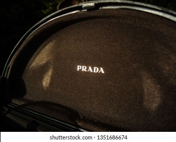 Soledade, Paraíba/Brazil - March 25, 2019: detail of the logo of luxury sunglasses, Prada, made in Italy stamped on the inner wall of the glasses case