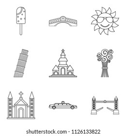 Solemnization icons set. Outline set of 9 solemnization icons for web isolated on white background