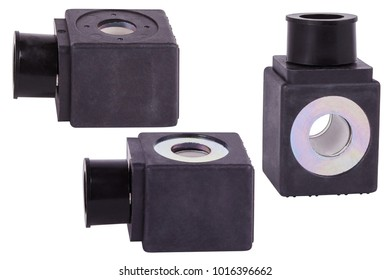 Solenoid Coil. Spare parts for professional coffeee machines. Isolated. Barista equipment