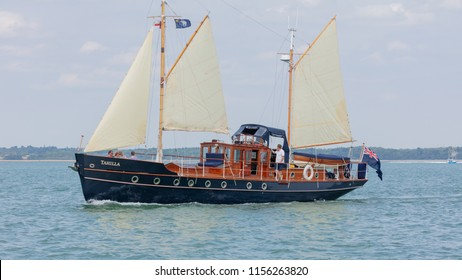 The Solent, Hampshire, UK; 7th August 2018; Auxilliary Ketch Tahilla Previously Skylark one of the Dunkirk Little Ships and Part of the National Historic Fleet, at Sea.
