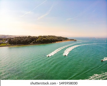 The Solent and Isle of Wight coastline on a warm summer's day