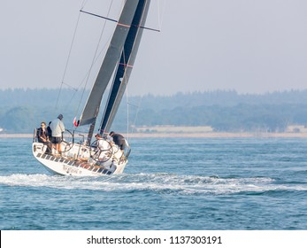 The Solent, Near Isle of Wight, UK; 7th July 2018; Yacht, Tokoloshe 2 Competing in the Annual Round the Island Race.