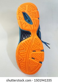 soles of sport shoes. sports shoes for women. close up photo of the bottom shoe sole design. Sports photo product